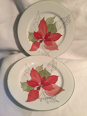 Block Spal Watercolors Goertzen Poinsettia 2 Salad  Plates  Christmas