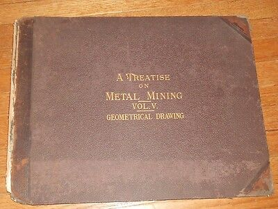 1899 Antique Book A Treatise on Metal Mining Geometrical Drawing Plates for Mine