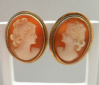 Antique 9ct Yellow Gold Hand Craved CAMEO Earrings