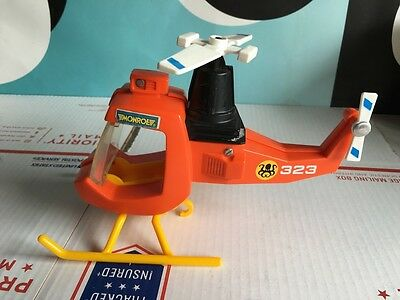 Vintage Fisher Price Orange Fire Rescue Helicopter 323