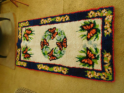 "Large Vtg BUTTERFLY  Latch Hook Rug Wall Hanging~BEAUTIFUL~ 56"" x 30"" ~FREE SHIP"