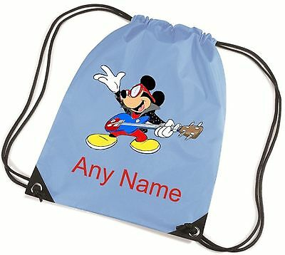 Personalised Mickey Mouse/Guitar Style School/PE/Bag  *Choice Of Colours*