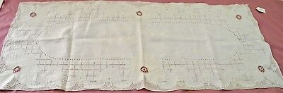 Gorgeous Vintage Embroidered And Openwork Linen Runner Rr924