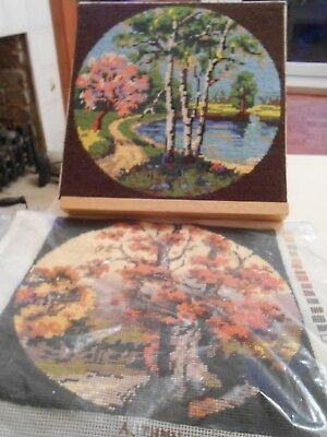 Beautiful Completed Wool on Canvas Tapestry Of Autumn   (H)