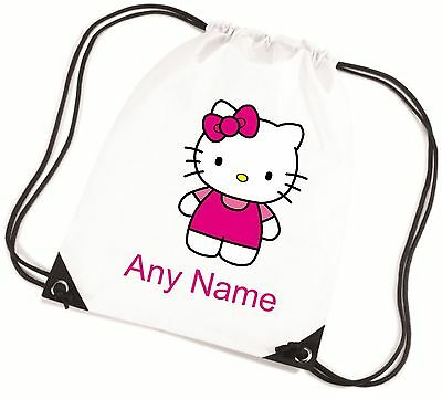 Personalised Hello Kitty Style School/PE/Bag  *Choice Of Colours* Free Postage*