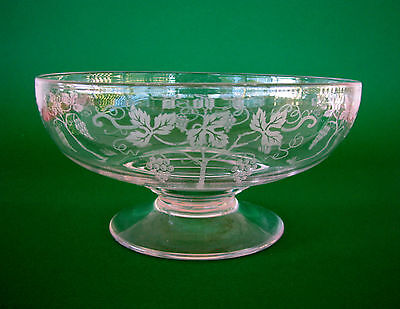 Vintage Stuart Crystal Grape & Vine Leaf Serving Dessert Bowl Comport