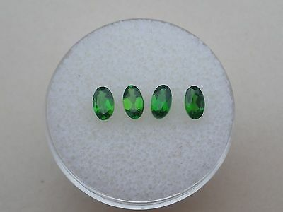 4 Green Natural Chrome Diopside Oval Loose Faceted Gems 5x3mm each