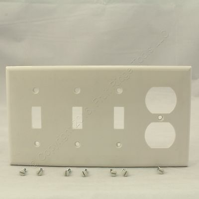 Cooper White 4Gang Toggle Switch Cover Duplex Receptacle Plastic Wallplate 2174W
