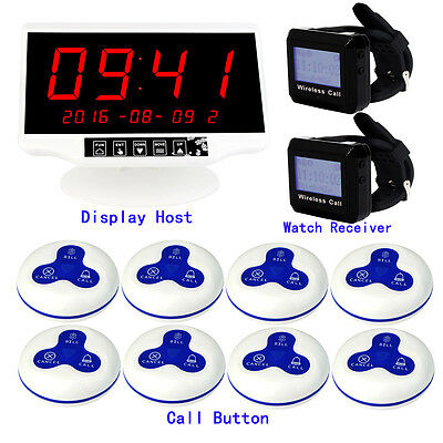 New Wireless Restaurant Call Button Pager System Touchable Host Watch Receiver