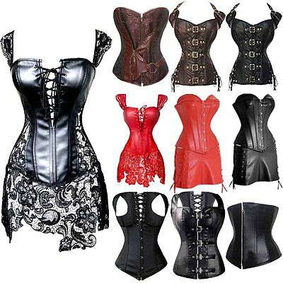 Plus Size Underbust Leather Steampunk Corset Top Dress Sexy Gothic Bustier Black