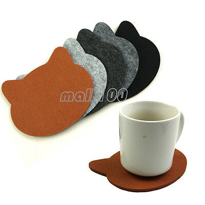 5pcs Cat Head Drink Glasses Cup Coasters Felt Fabric Mixed Color 5*4.5 inch