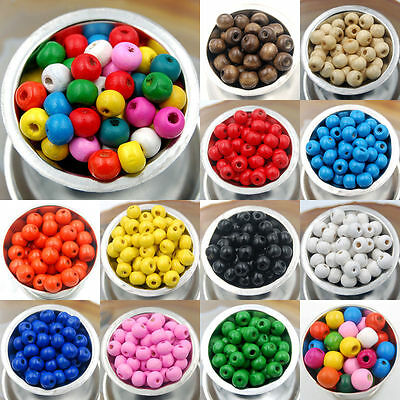 1000x4mm / 300x8mm Wooden Round Beads 11 Colour Choice