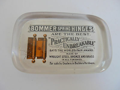 25995 Paperweight USA Reklame Bommer Spring Hinges Scharniere 1910 advertisement