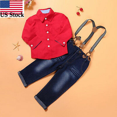 2Pcs Baby Boys Long Sleeve Shirt+Braces Jeans Set Kids Casual Clothes Outfits US