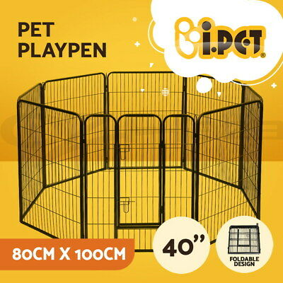 100 x 80CM 8 Panel Pet Playpen Portable Exercise Cage Fence Dog Puppy Rabbit