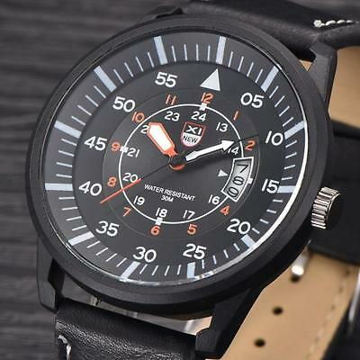Fashion Military Leather Waterproof Date Analog Army Men's Quartz Wrist Watches