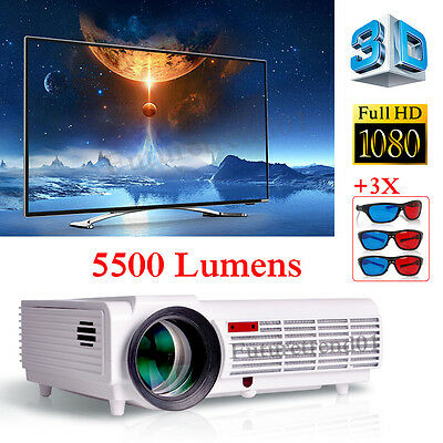 5500 Lumens Home Theater Multimedia USB HDMI 1080P Full HD LED Projector