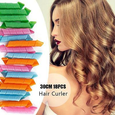 18Pcs Portable Curl Stretchy Magic Plastic Hair Curler Hair Roller Styling 30cm