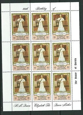 TURKS & CAICOS IS. SG607 1980 80th BIRTHDAY OF QUEEN MOTHER  SHEETLET MNH