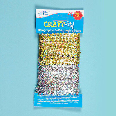 Baker Ross Children's Crafts Holographic Self-Adhesive Stars (Per Pack)