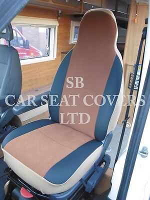 To Fit A Ford Transit Motorhome, 2006, Seat Covers, Tan Suede Mh-001, 2 Fronts