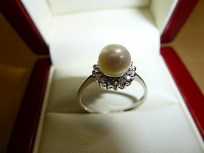 Genuine White Pearl & Diamonds Ring White Gold Gift