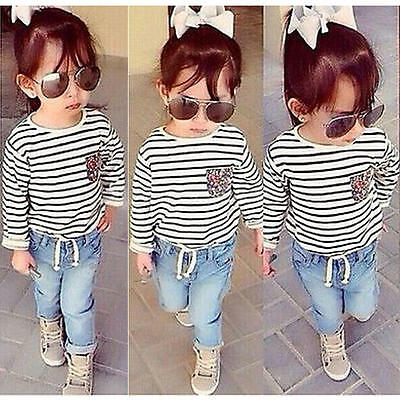 2PCS Baby Girls Kids T-shirt + Jeans Denim Pants Set Toddler Outfits Clothes NEW