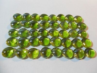 Set of 40 CLEAR LIME GREEN Pente Glass Stone Game Pieces part replacement NEW