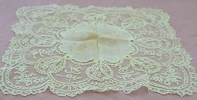 Stunning Large Antique Tambour Lace Wedding Hanky Rr261