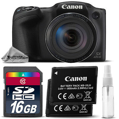 Canon PowerShot SX420 IS Digital Camera Black 42x Optical Zoom +EXT BAT-16GB KIT