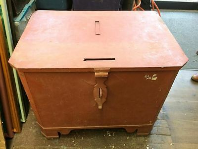 Antique - Vintage Heavy Safe Orange Painted Metal