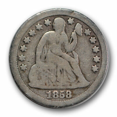 1858-S 10C Liberty Seated Dime Very Good VG Tough Date R1204