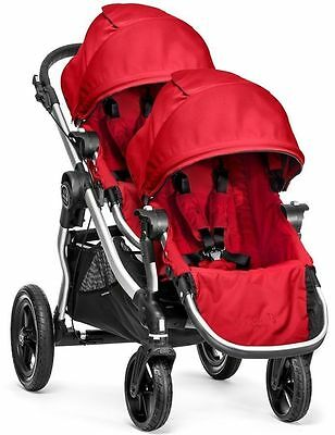 2017 Baby Jogger City Select Twin Tandem Double Stroller Ruby w Second Seat NEW