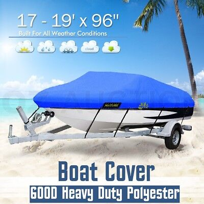 17-19ft Boat Cover UV-Protected Premium Heavy Duty 600D Trailerable Canvas