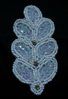 SB201-3 Rhinestone Diamante Beaded Applique Jewelry~Leaf~Brooch/Hair Dress/Craft