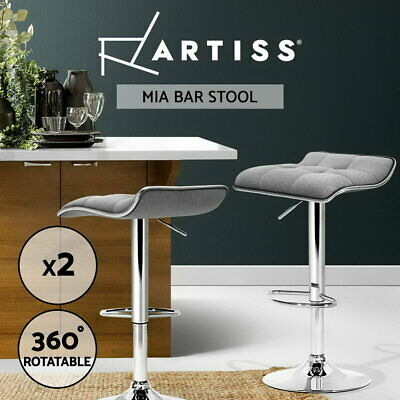 2x Fabric Bar Stools Swivel Chair Gas Lift Barstool Dining Kitchen Grey 002
