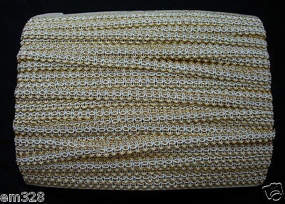 """GB85 1/2"""" Gold Cream Trimming Cord Braided Gimp Lace Edge Design/Upholstery 10y"""