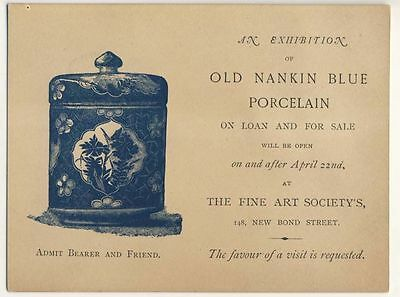 Invitation to Exhibition of Old Nanking Blue Porcelain, London, c1890s