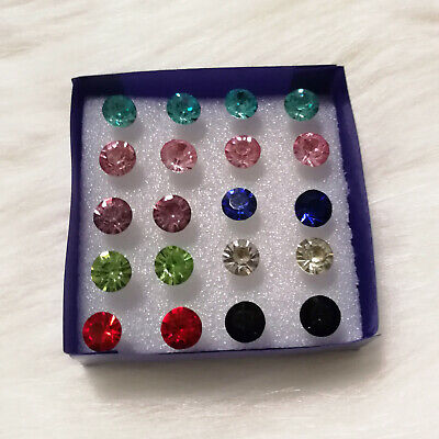 20Pairs/pack Multicolor Round Rhinestone Plastic Hypoallergenic Stud Earrings