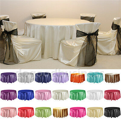 "10 Packs 108"" Inch Round Satin Tablecloth  Table Cover Wedding Decor 21 Colors"