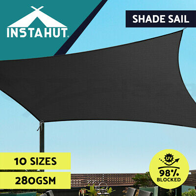 Extra Heavy Duty Shade Sail Sun Canopy Outdoor Triangle Square Rectangle Black