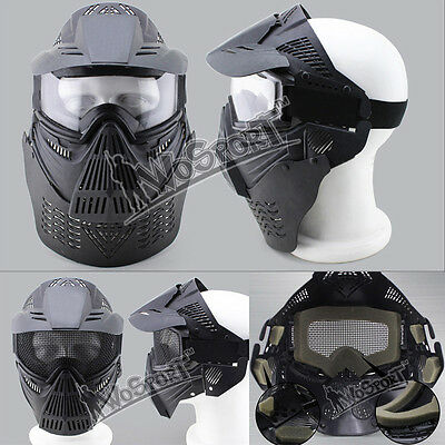 Tactical Airsoft Full Face Mask Safety MetalMesh Paintball Goggles Protection CS
