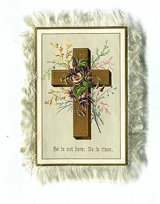Vintage EASTER Greeting Card Fringed 2 sided religious Crosses