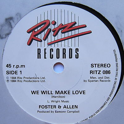 "FOSTER & ALLEN - We Will Make Love - Excellent Condition 7"" Single Ritz RITZ 086"
