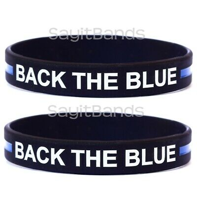 One BACK THE BLUE Wristband - Law Enforcement Bracelet Adult or Child Size