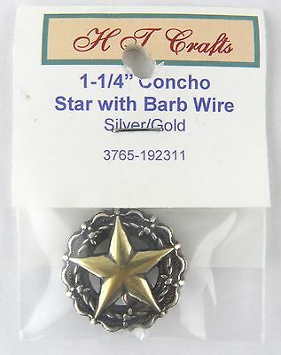 """1-1/4"""" Star Encircled By Barbwire Concho - Silver & Gold Plate - Screwback"""