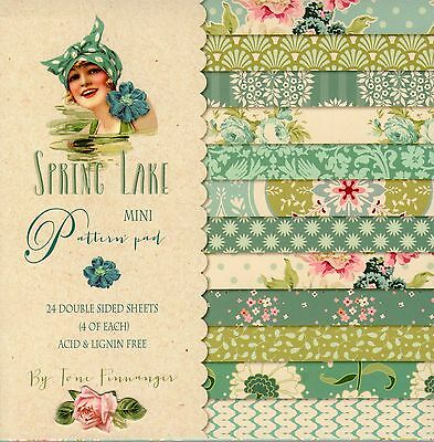 SPRING LAKE MINI PAPER PAD by TILDA, 24 DOUBLE SIDED SHEETS FOR CARD MAKING, NEW