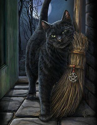 Brush with Magic Canvas Art Print by Lisa Parker Black Cat pentacle