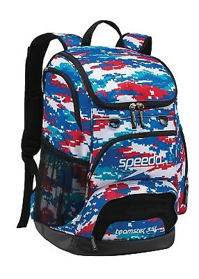 Speedo Large Teamster Backpack Swim Swimming, 35-Liter, Digi Camo Red/White/Blue