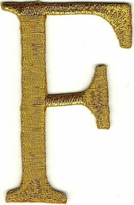 """2/"""" x 2 3//8/"""" Metallic Gold Monogram Wire Letter H embroidery patch"""
